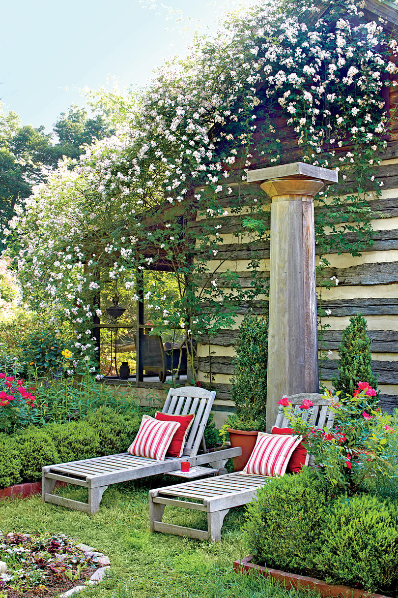 Garden Chaises with Climbing Roses
