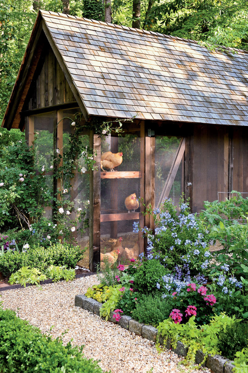 Chicken Coops Southern Living - Chicken co op with flowers