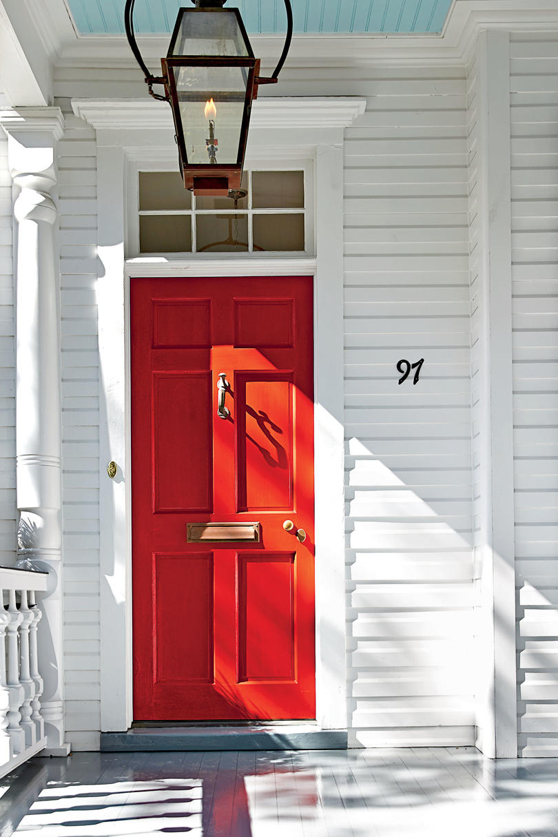 Red front doors for homes - Charleston Bright Red Front Door