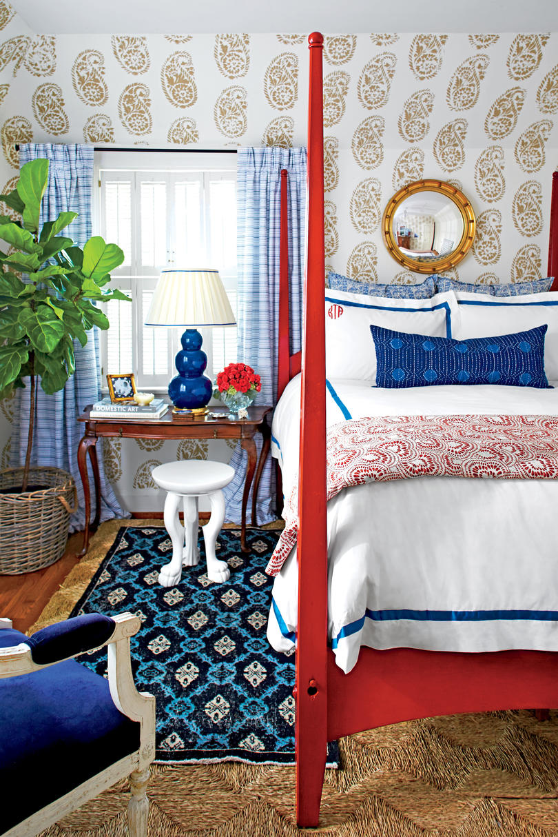 Navy and Red Master Bedroom
