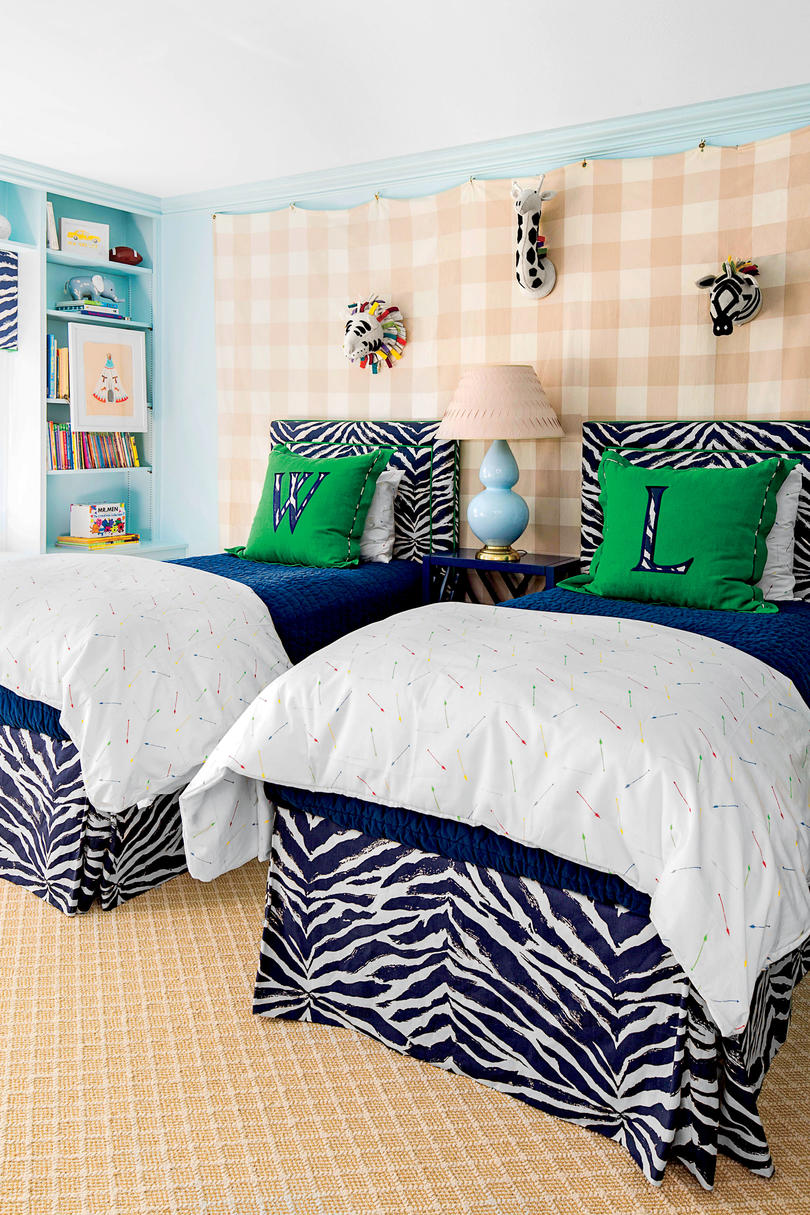 Colorful Zebra Twin Bedroom