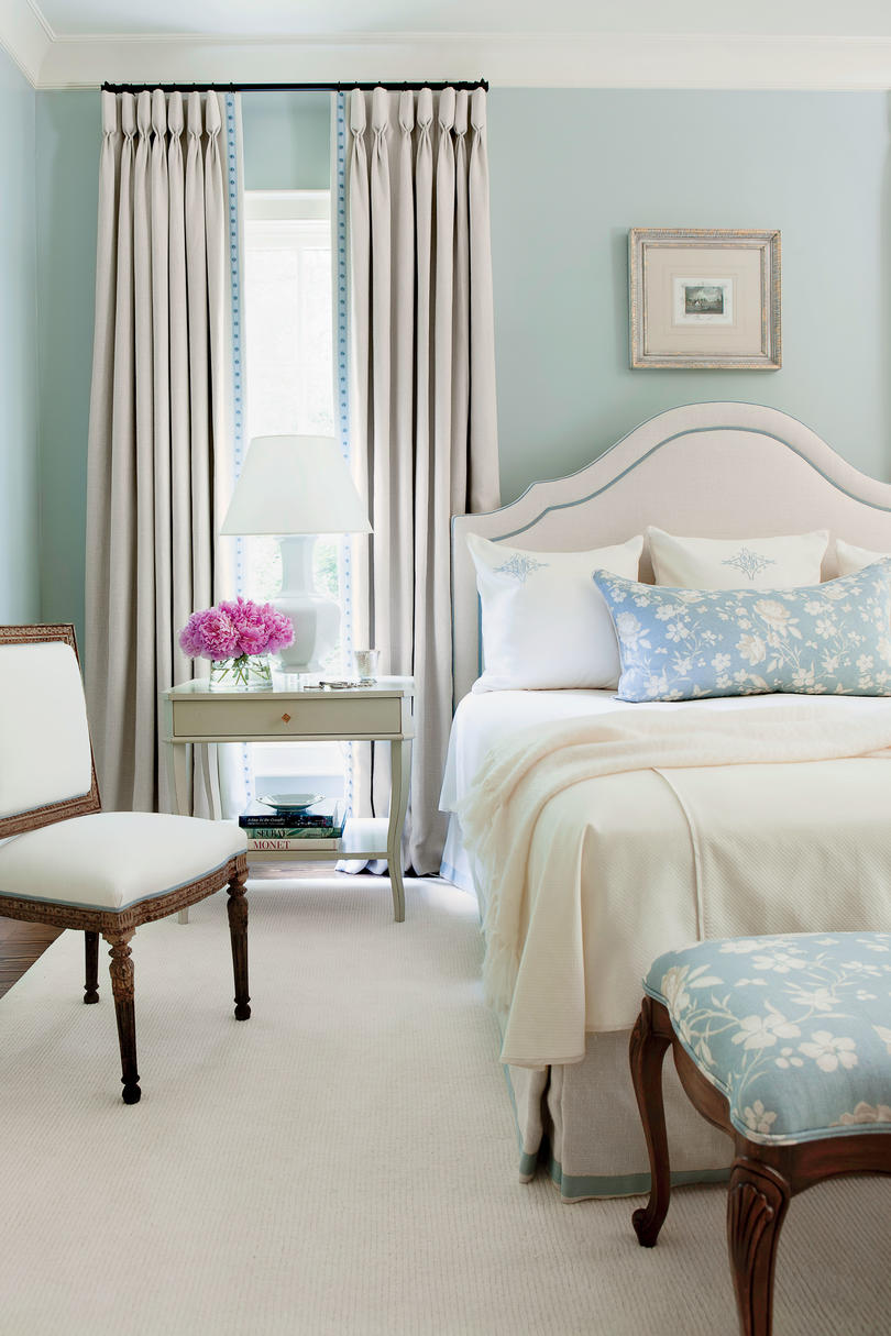neutral blue master bedroom
