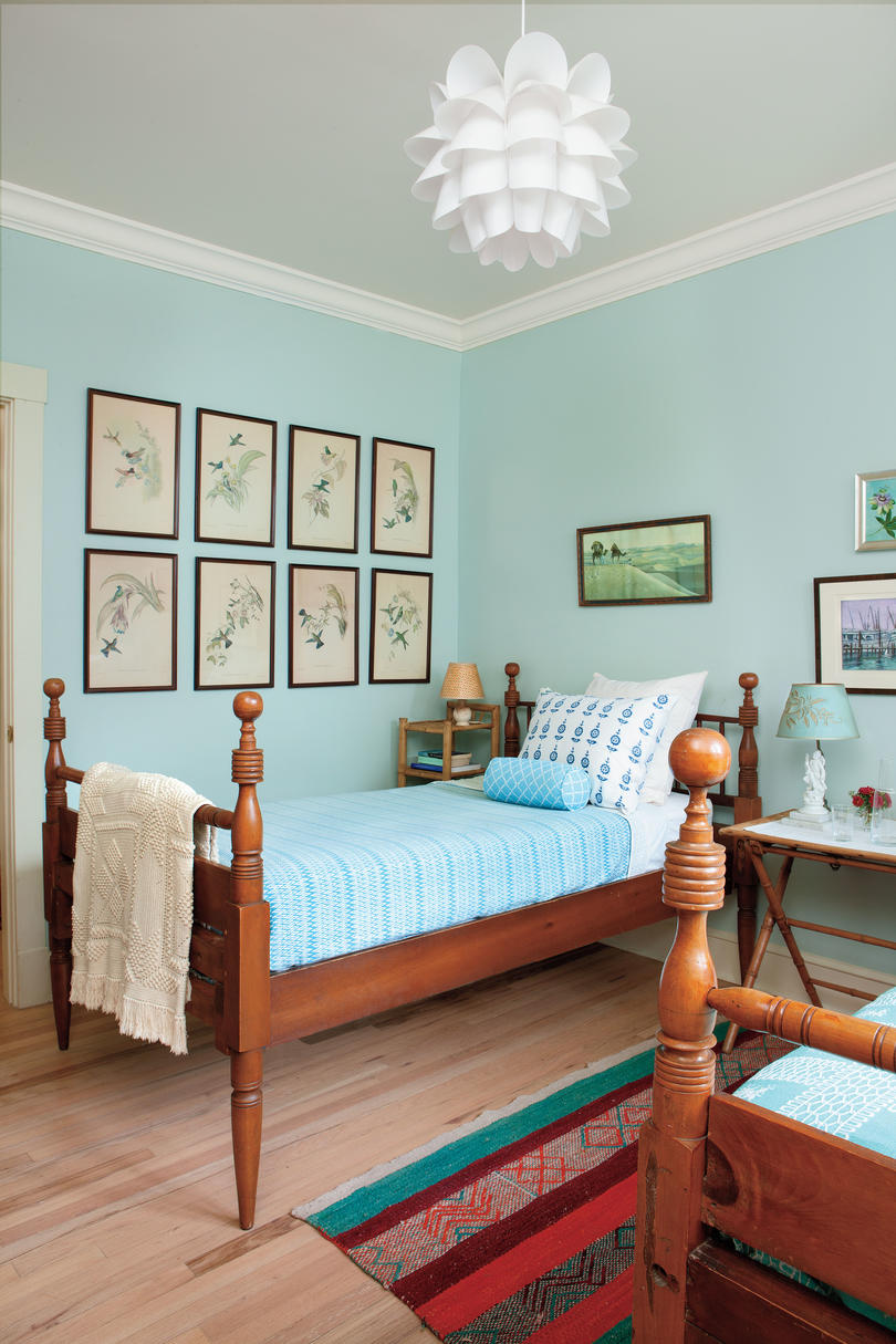 Vintage Blue Twin Bedroom