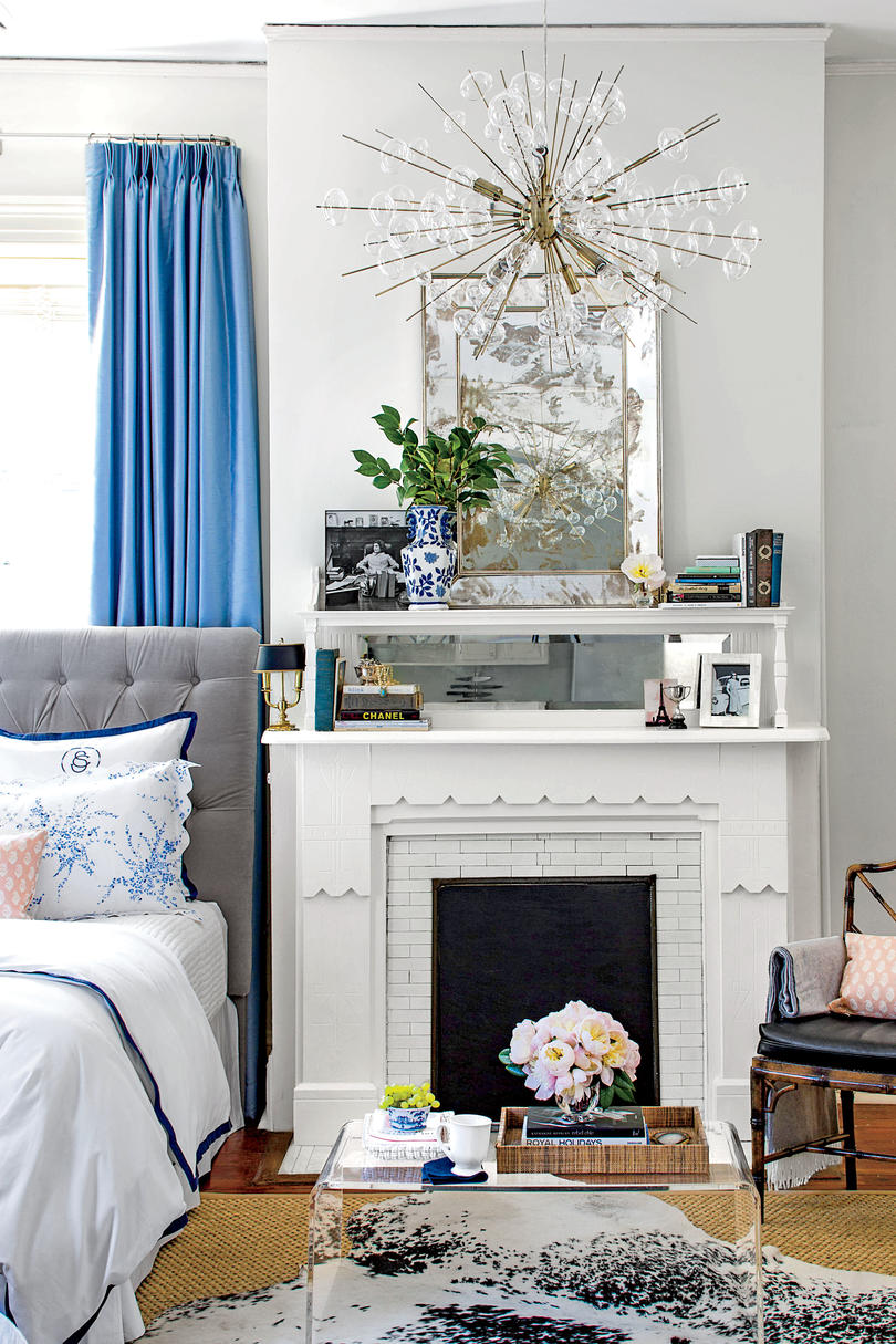 Gray Living Rooms With Blue Accents