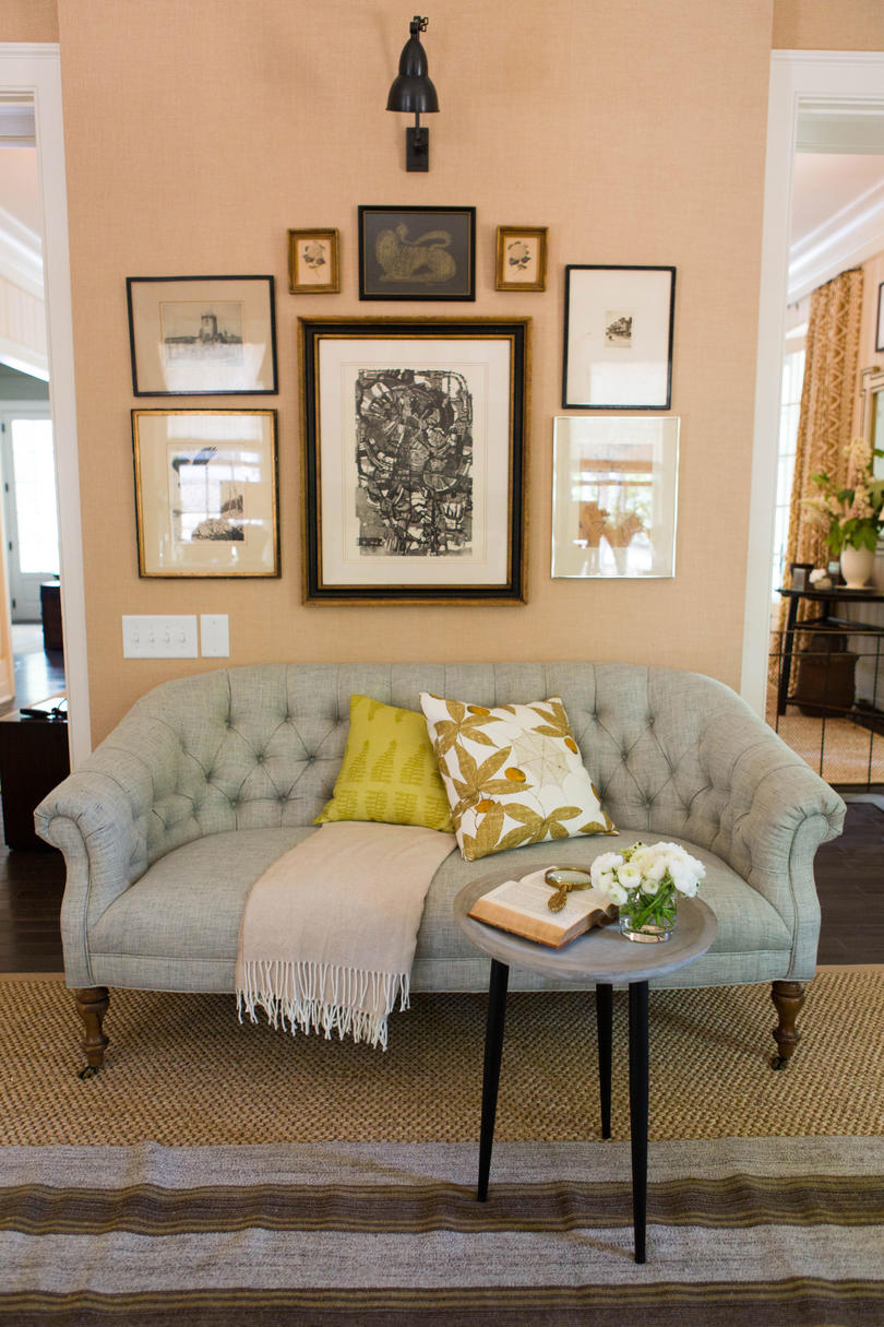 Lauren Liess 2016 Idea House Bedroom Seating Area with Gallery Wall