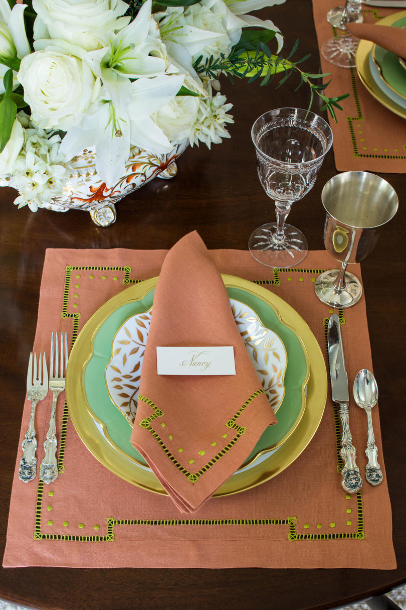 Coral and Green Place Setting