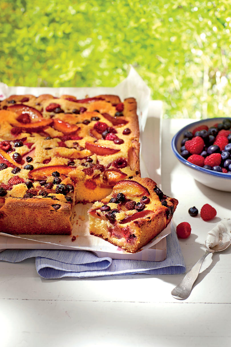 Plum-Berry Cornmeal Sheet Cake