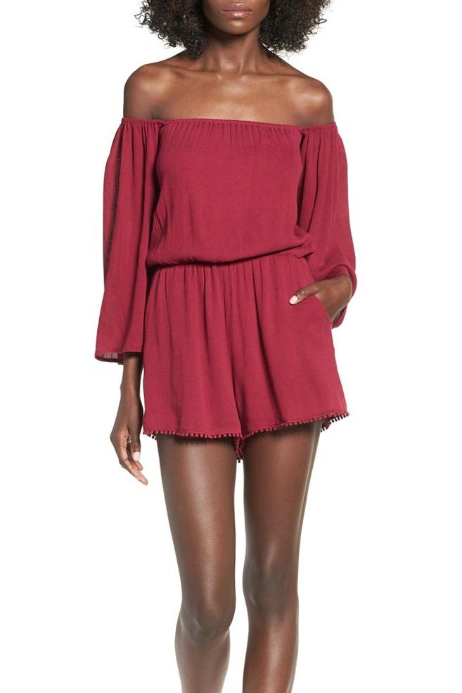 Off the Shoulder Woven Romper by Ashley Mason