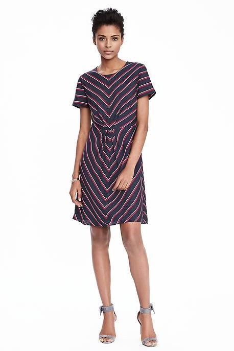 Short-Sleeve Striped Pleat Dress from Banana Republic