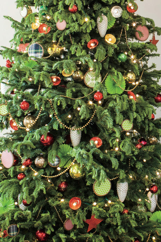 Christmas Tree with DIY Fabric Ornaments