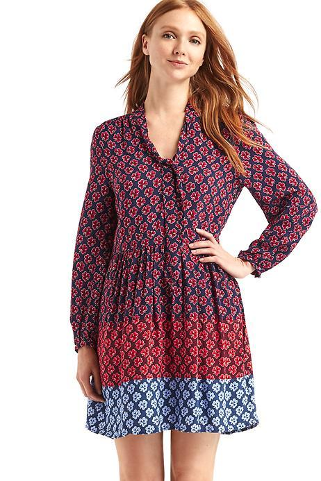 Tie-neck Clover Print Dress from Gap