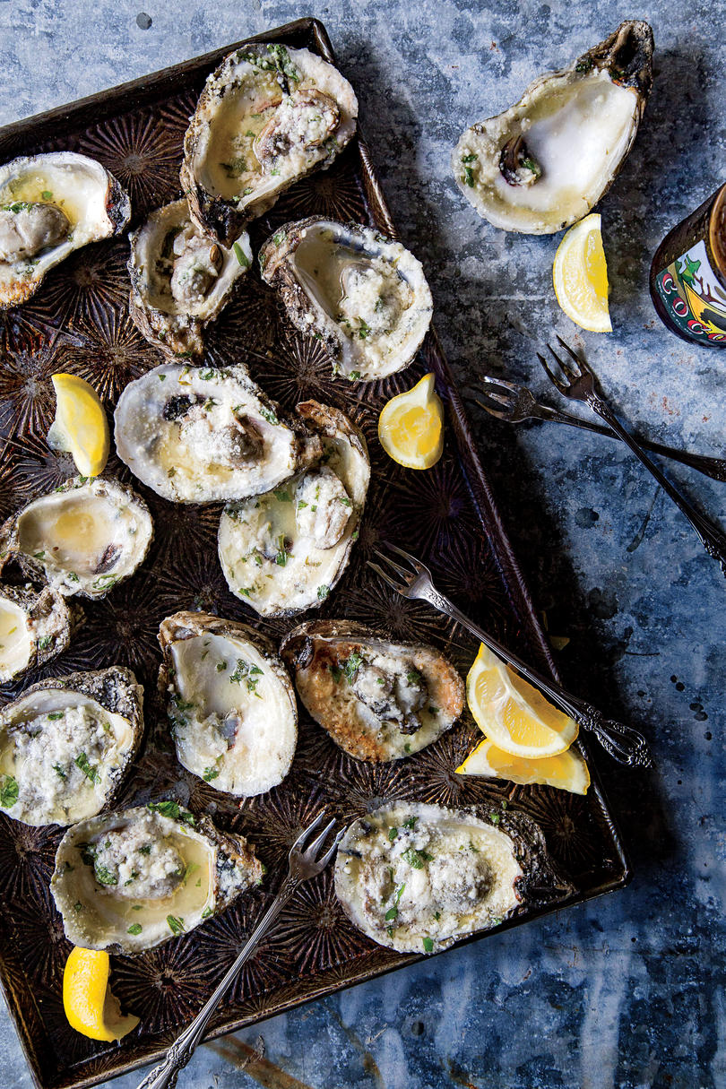 Grilled Oysters with Lemon-Garlic Butter