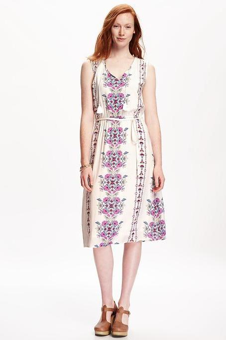 Printed Tassle Boho Midi Dress from Old Navy