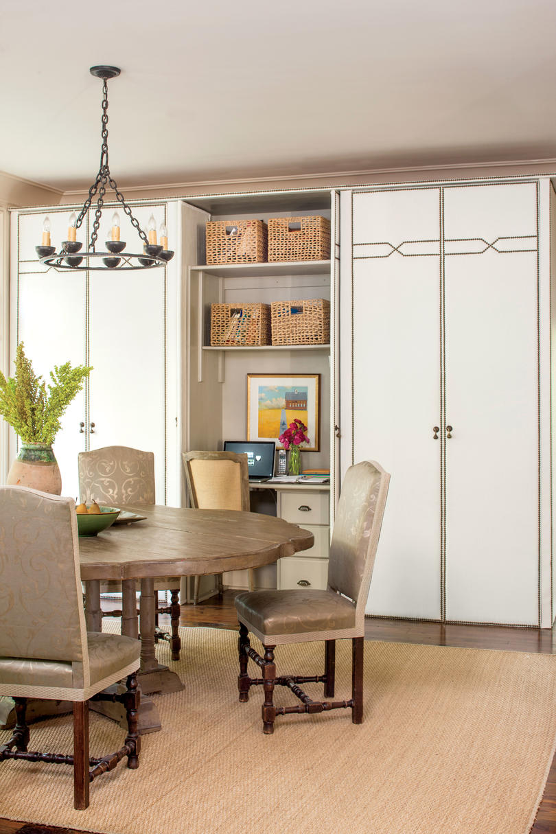 Neutral Breakfast Room with Storage