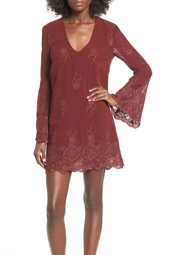 'Halifax' Embroidered Bell Sleeve Shift Dress by Wayf