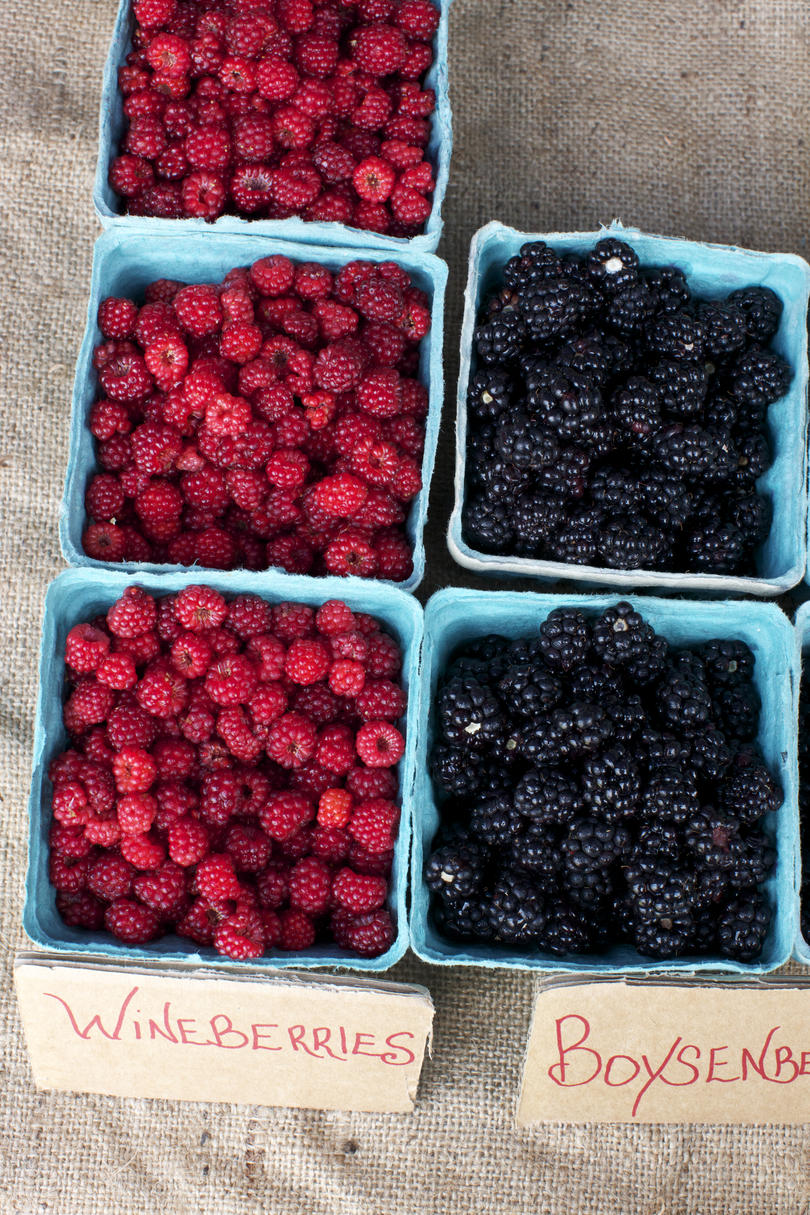 Cartons of Wineberries and Boysenberries