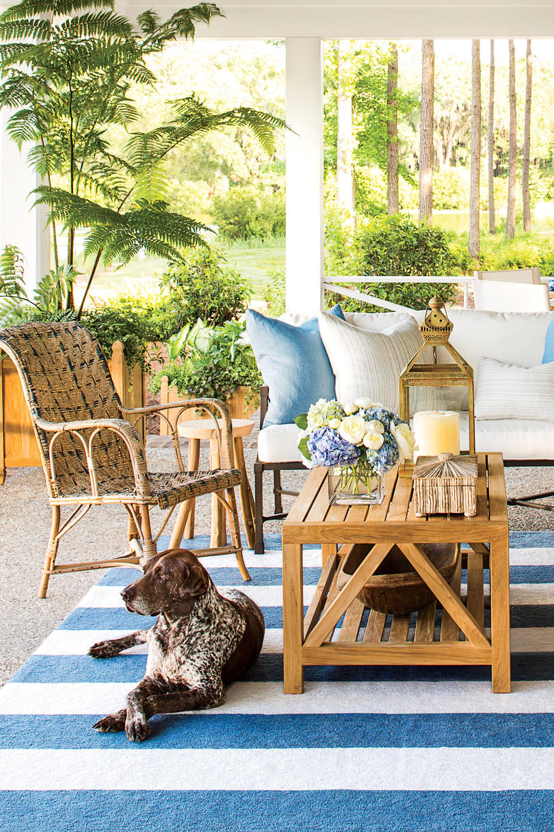 2014 Palmetto Bluff Idea House, back porch cover try with and without Harley the dog.