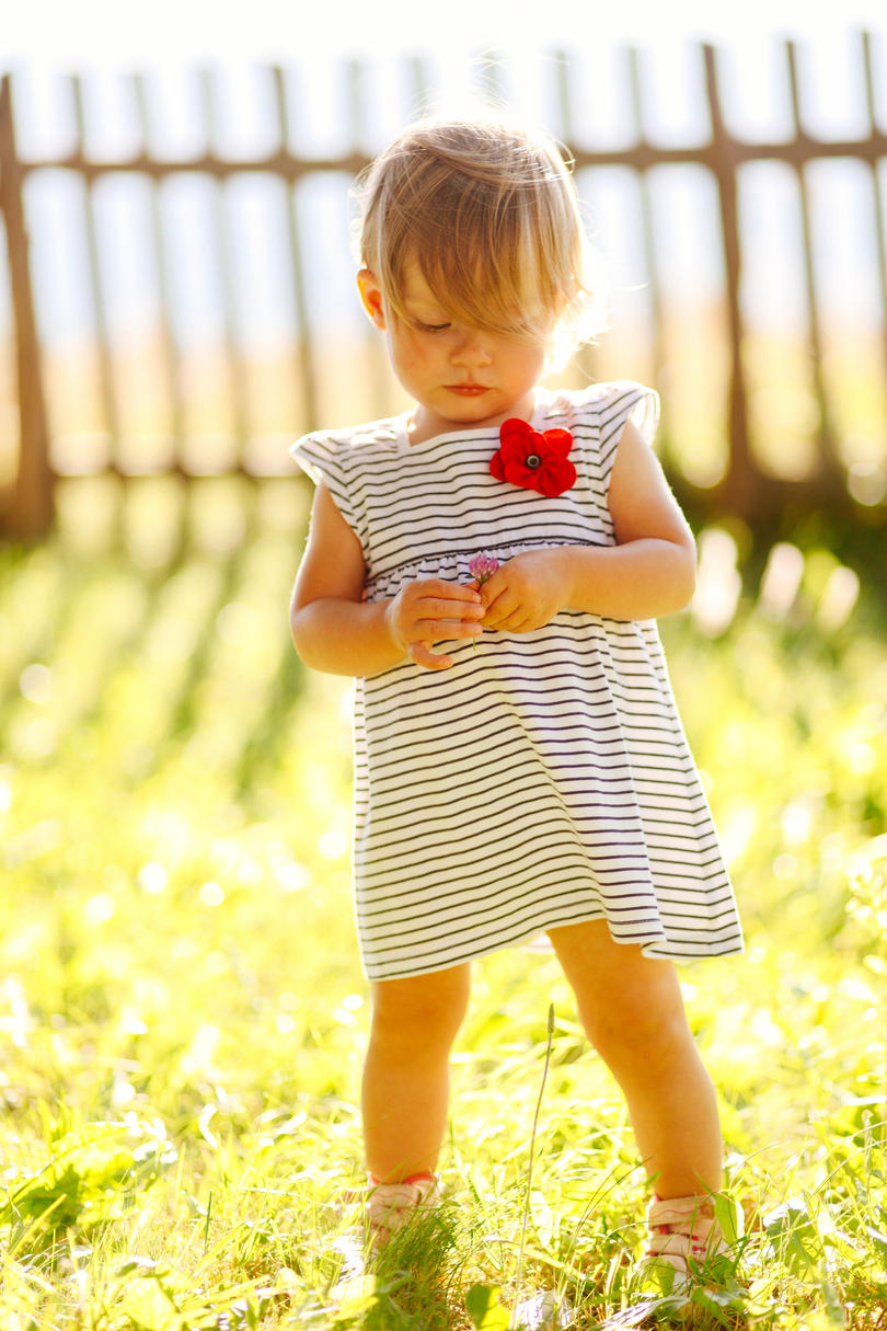 Toddler in Striped Dress