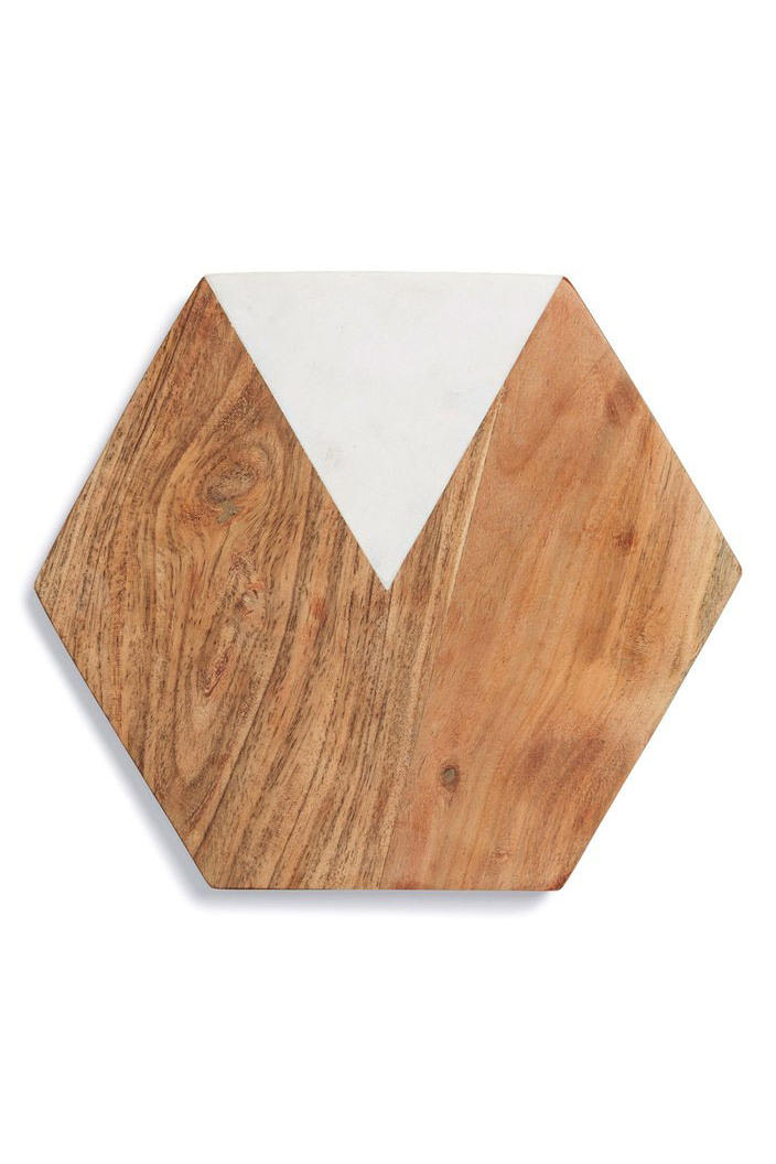Nordstrom Thirstystone Marble & Wood Hexagonal Serving Board