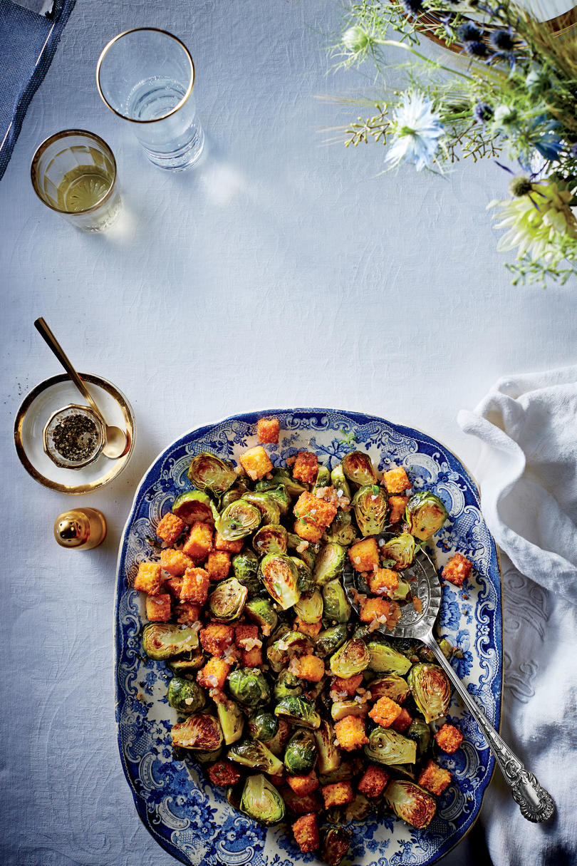 Side Dish: Brussels Sprouts with Cornbread Croutons