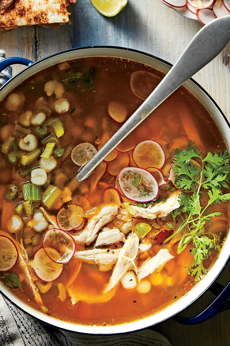 Green Chile-Turkey Soup with Hominy