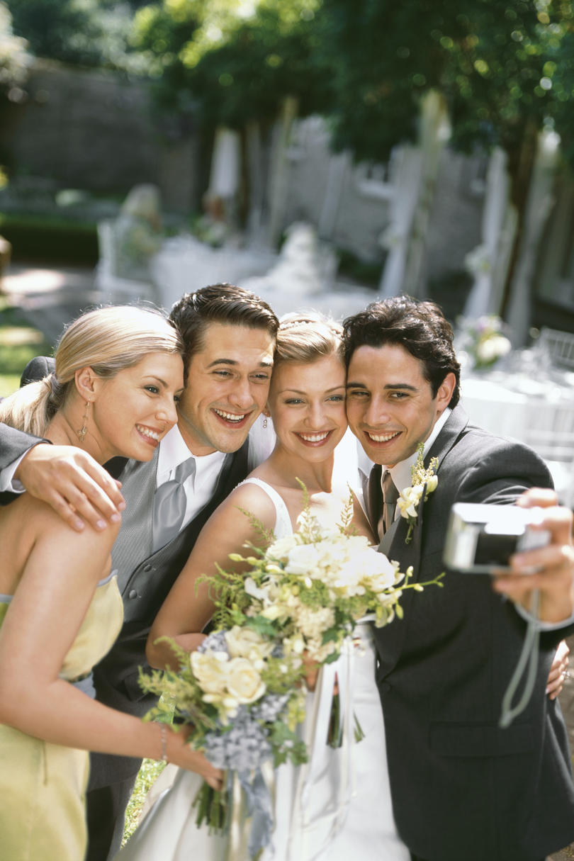 Wedding Party Taking a Selfie