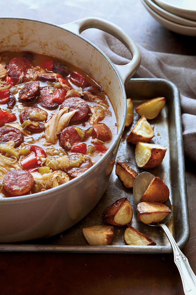 Chicken Soups Chicken-Andouille Gumbo with Roasted Red Potatoes
