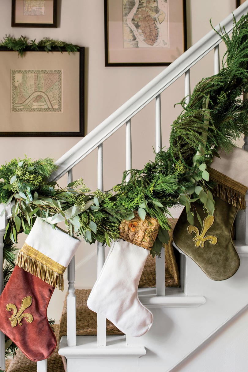 Garland Wrapped Bannister with Stockings