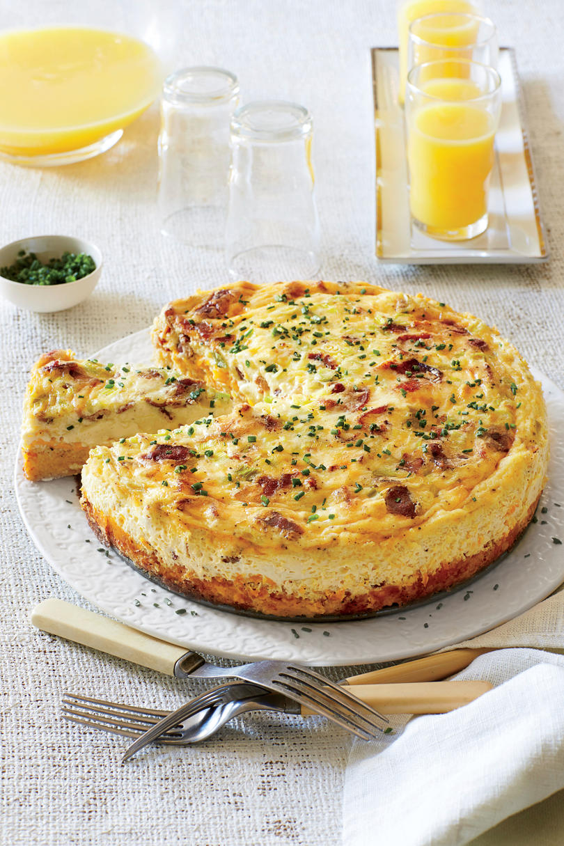 Brunch for a Crowd Bacon Cheddar Grits Quiche