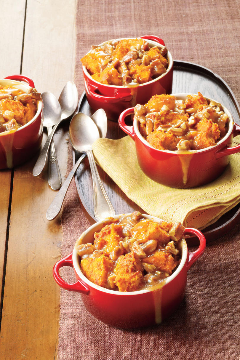 Caramel Pecan Pumpkin Bread Puddings
