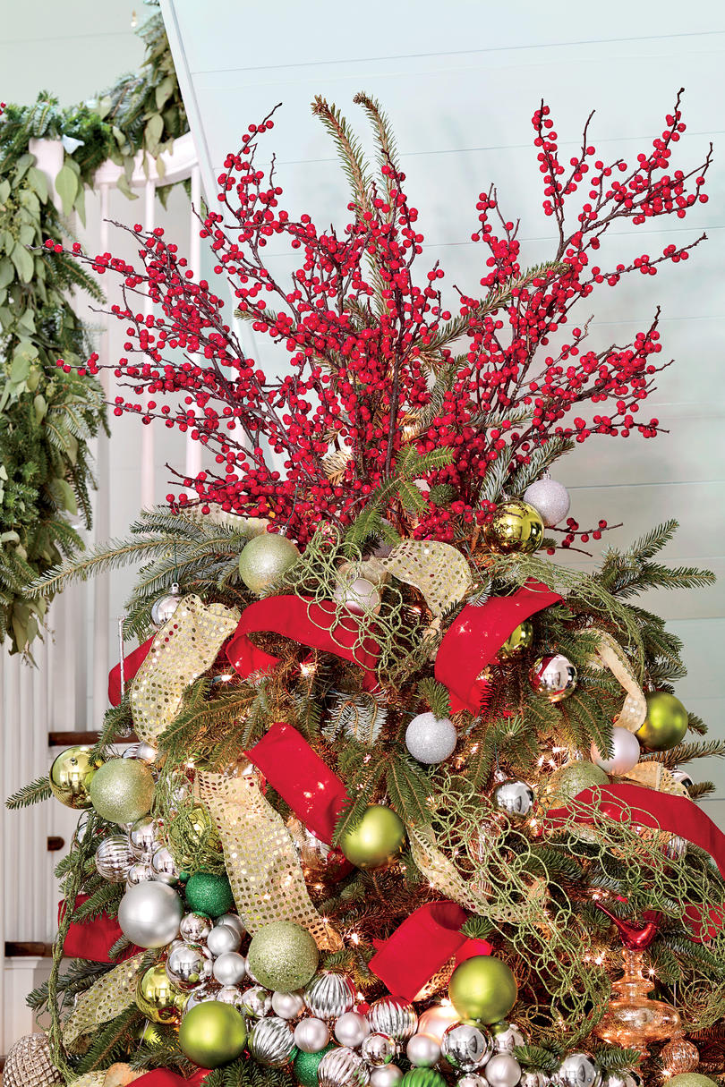 Red Holly Berries Tree Topper