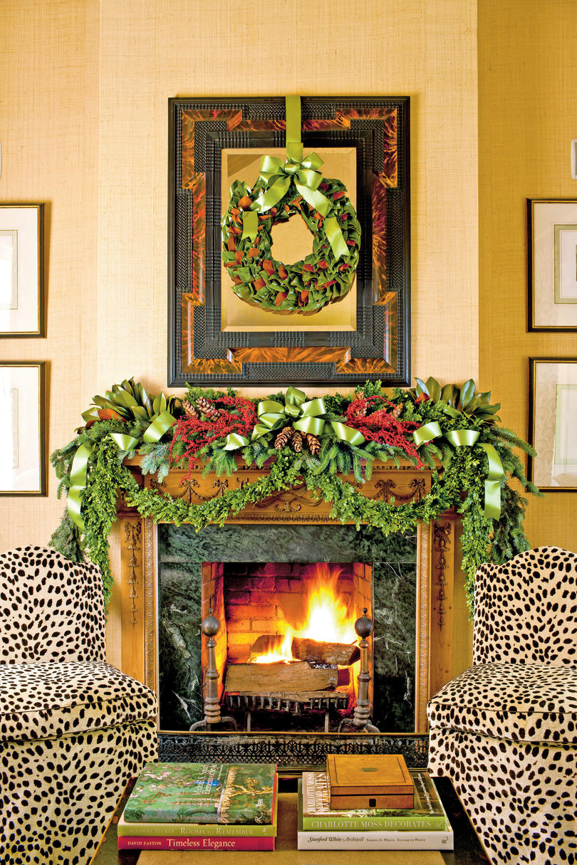 Christmas mantel decorating ideas southern living for How to decorate a fireplace for christmas
