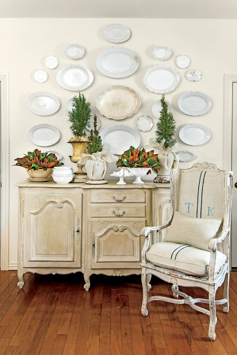 Magnolia in Bowls on Buffet