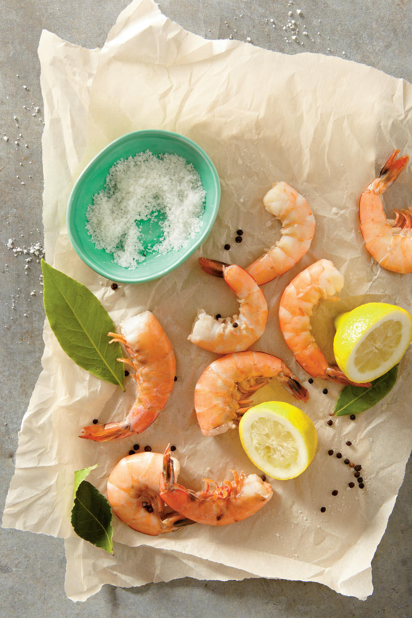 Poached Shrimp with Lemon
