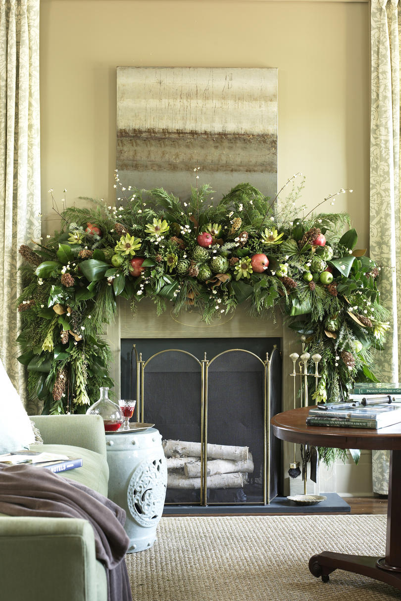 natural cheerful - How To Decorate A Fireplace For Christmas