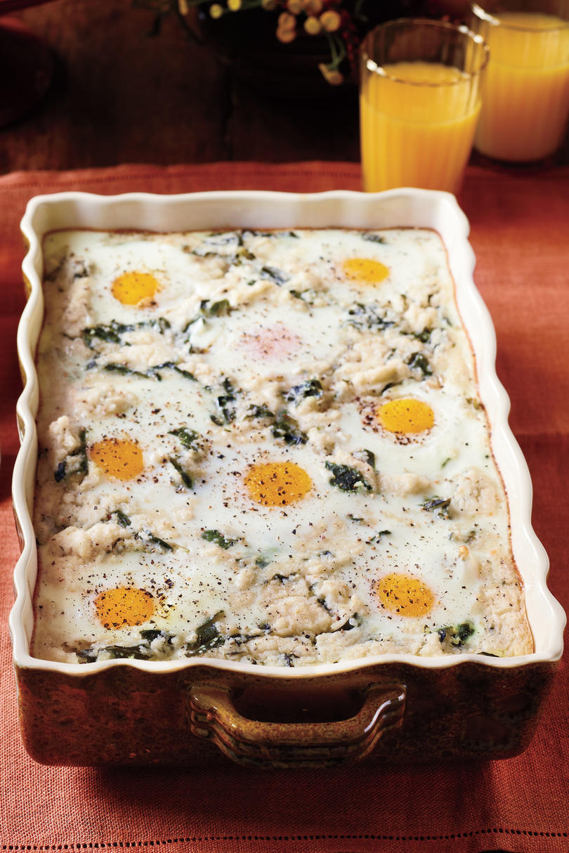 Brunch for a Crowd Grits and Greens Breakfast Bake