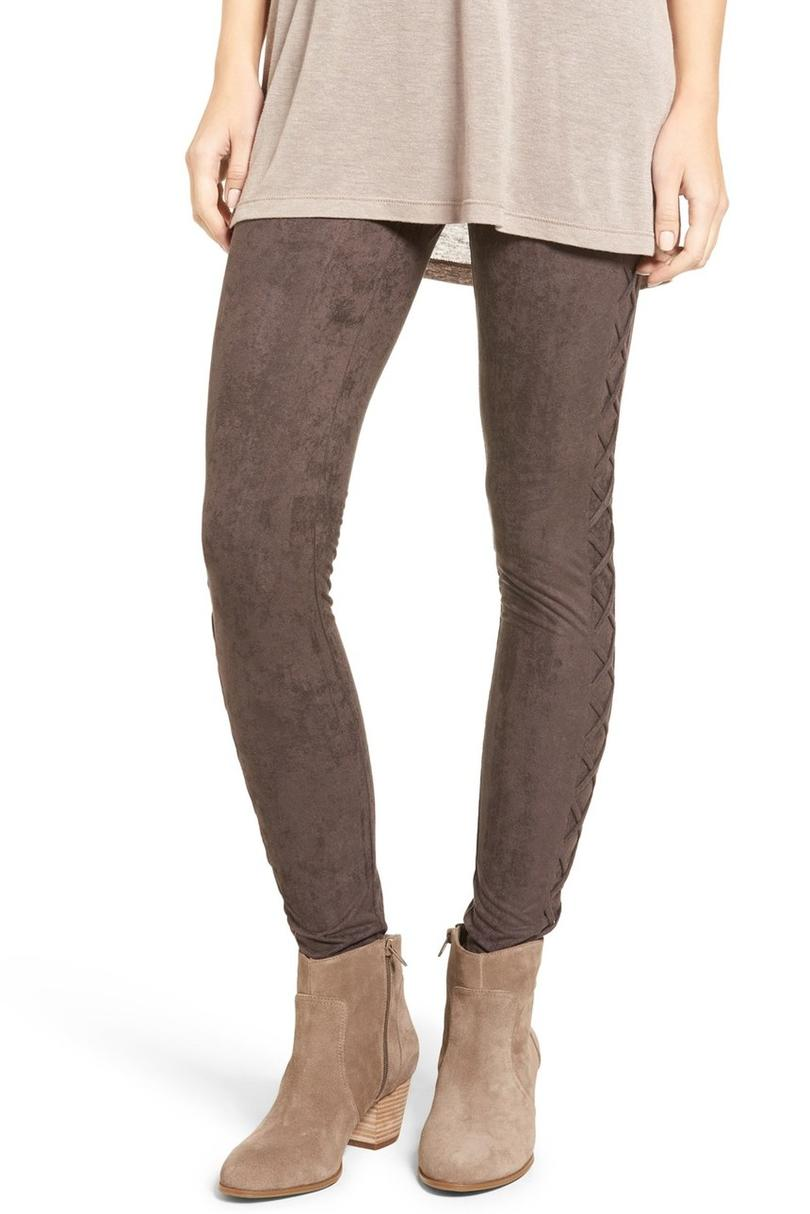 Lace-Up Faux Suede Leggings