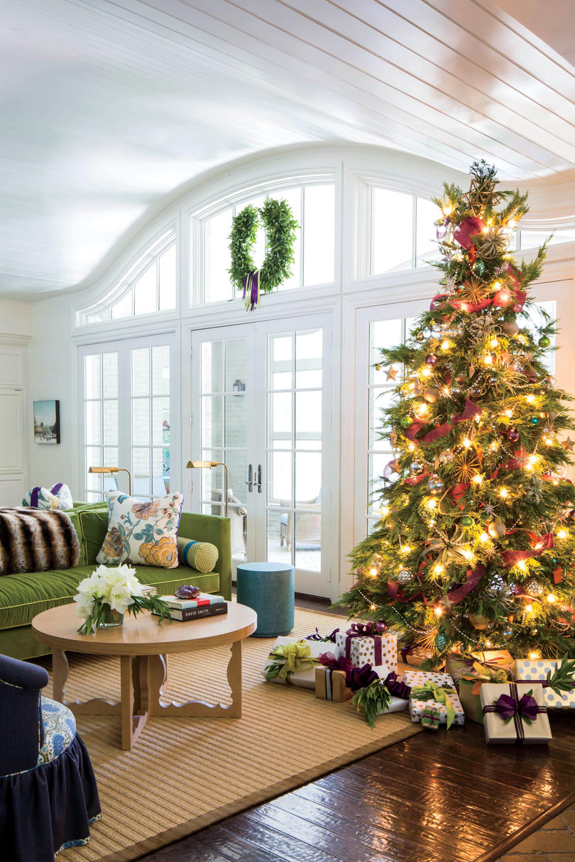 Christmas tree decorating ideas southern living purple and green christmas publicscrutiny