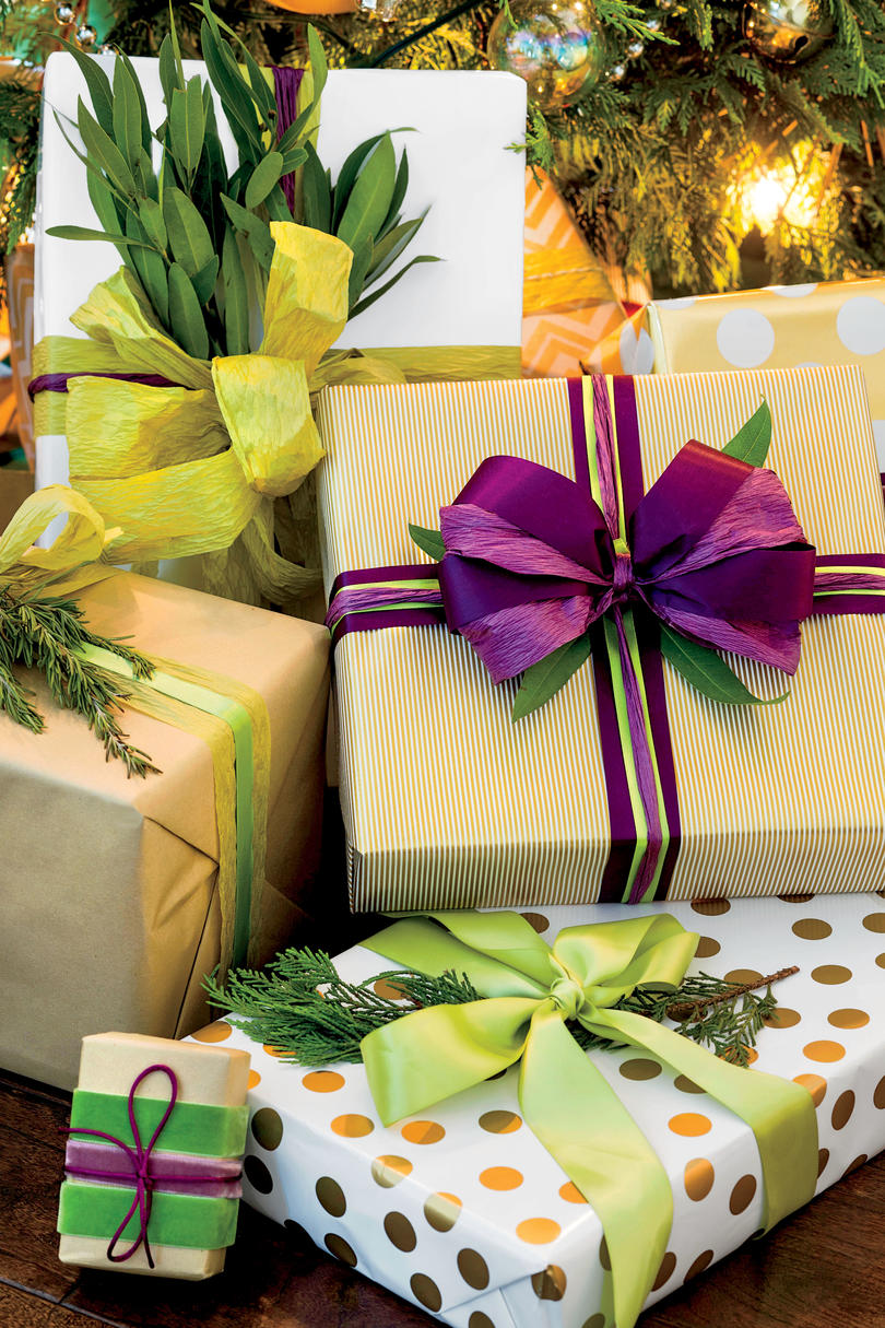 Stylish gift wrapping ideas southern living purple and green wrapping paper color scheme mightylinksfo