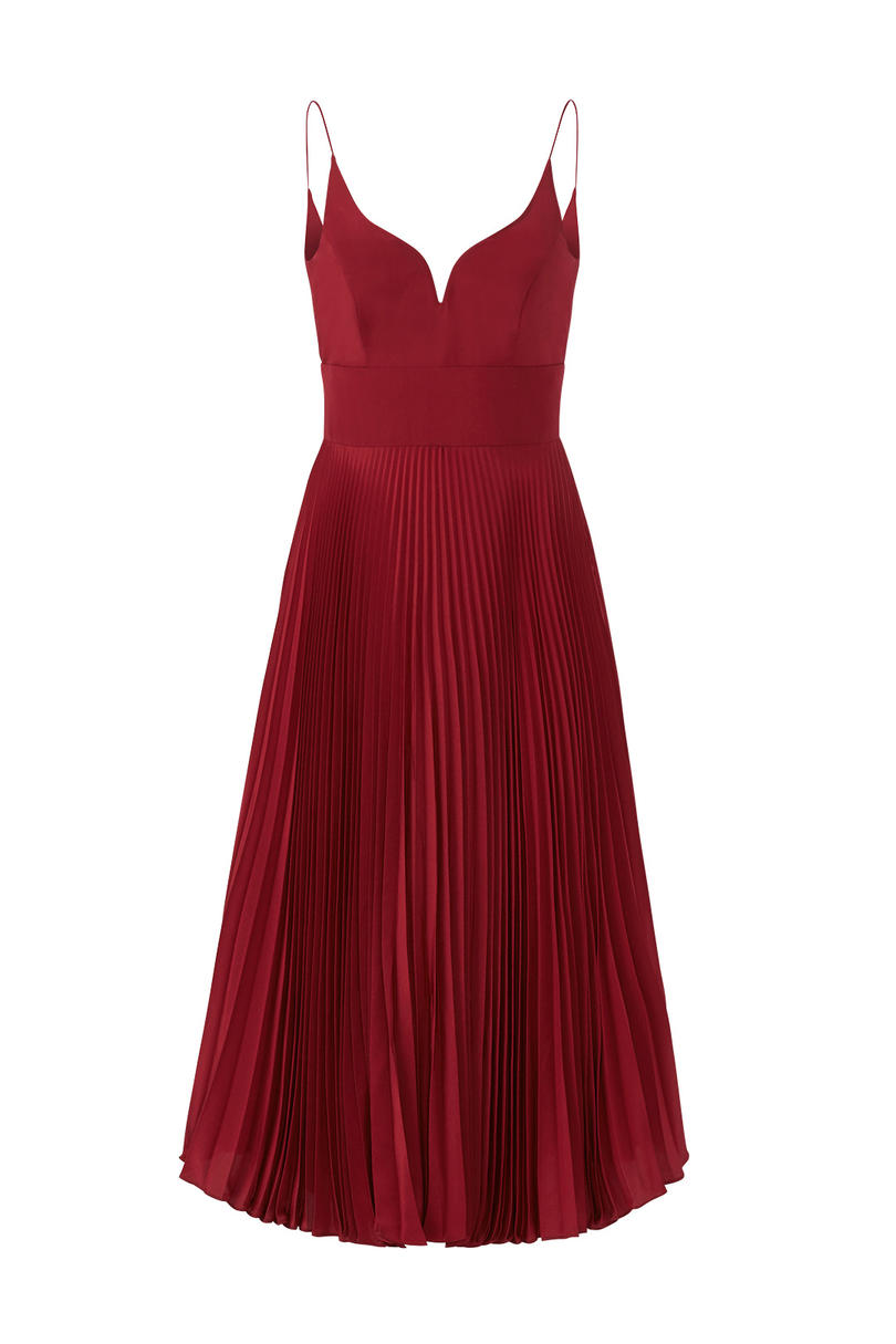 Nicole Miller Oxblood Pleated Sweetheart Dress
