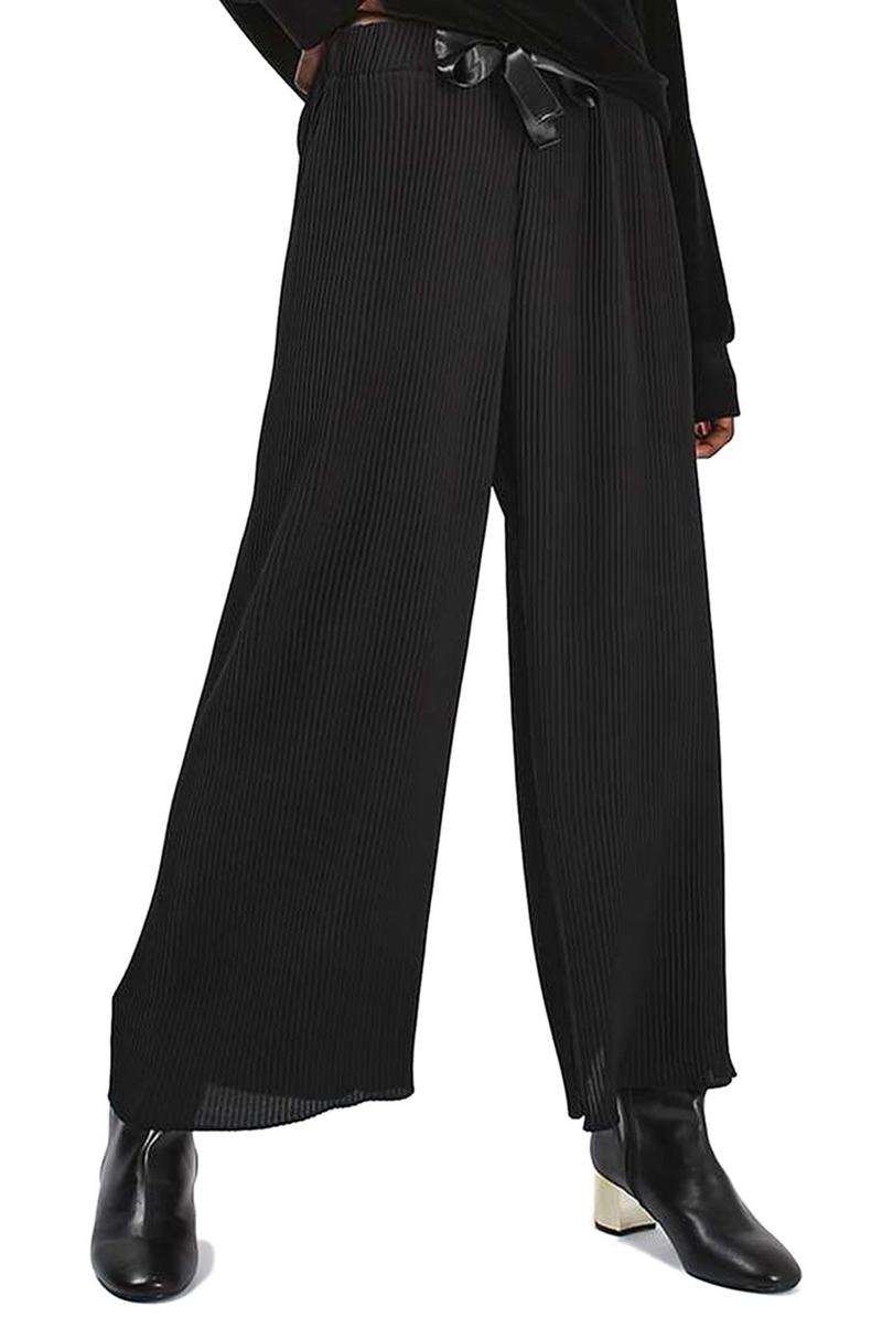 Ribbon Drawstring Plissé Trousers