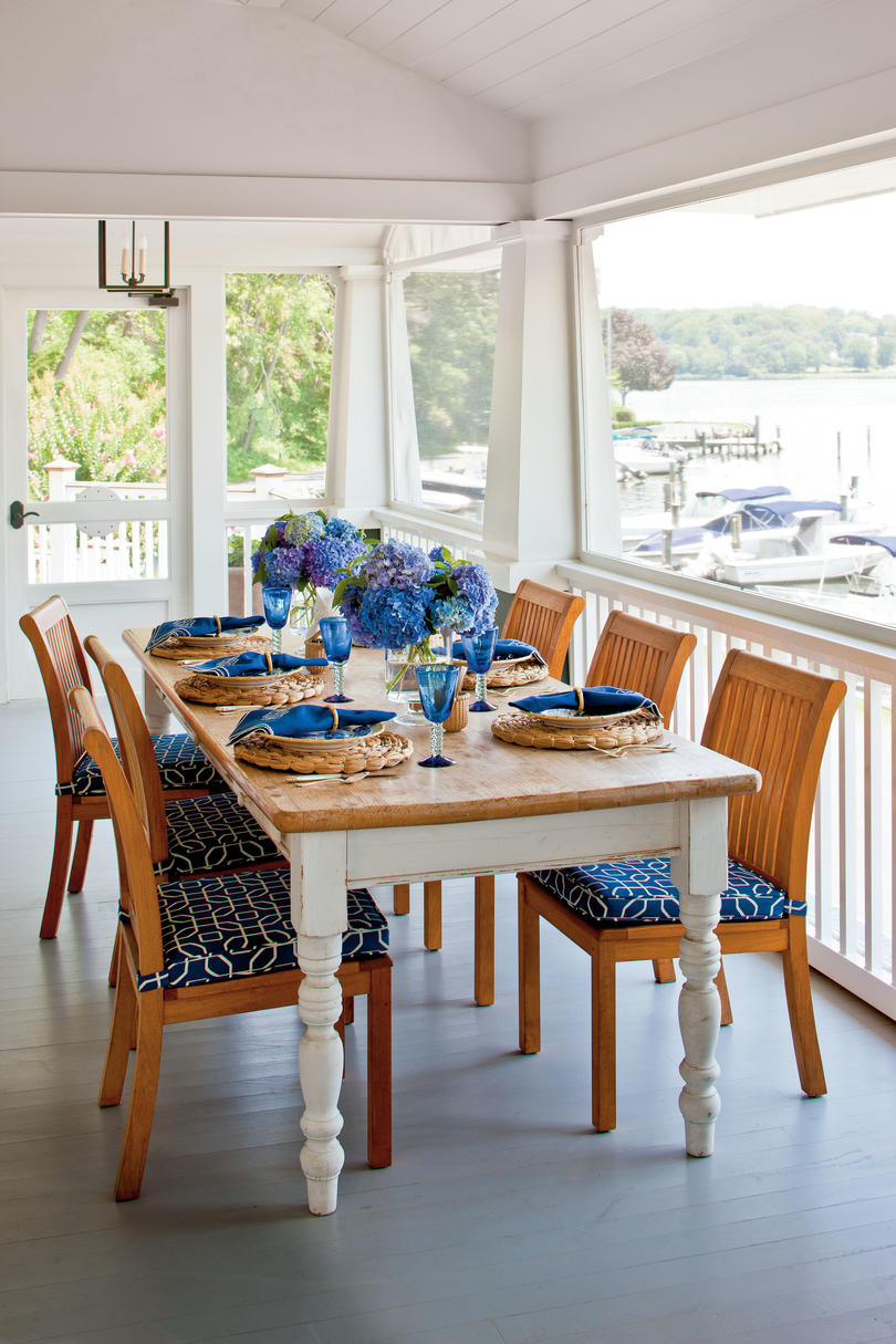 Blue and White Palette Porch Dining Area