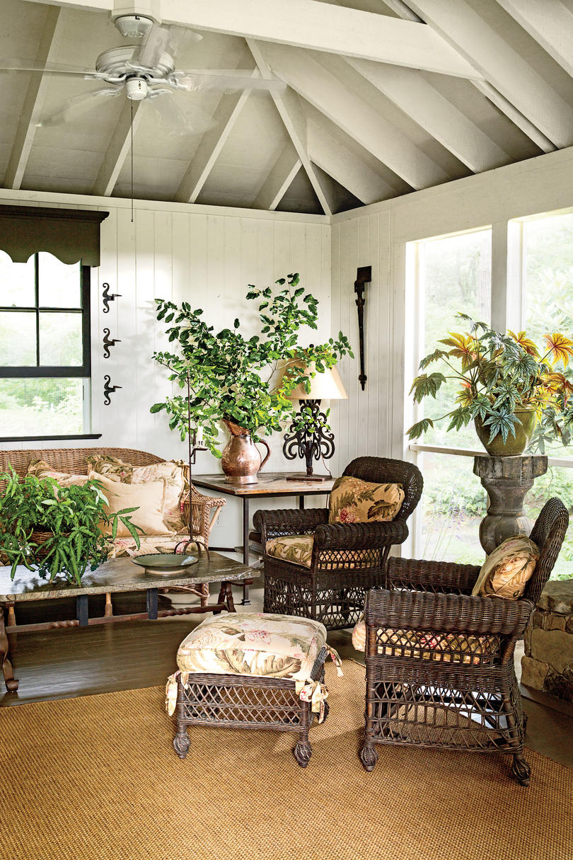 White Porch with Brown Wicker Furniture