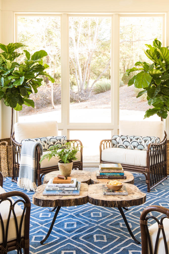 White and Blue Porch with Area Rug
