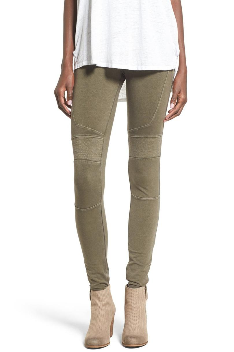 Stretch Cotton Moto Leggings