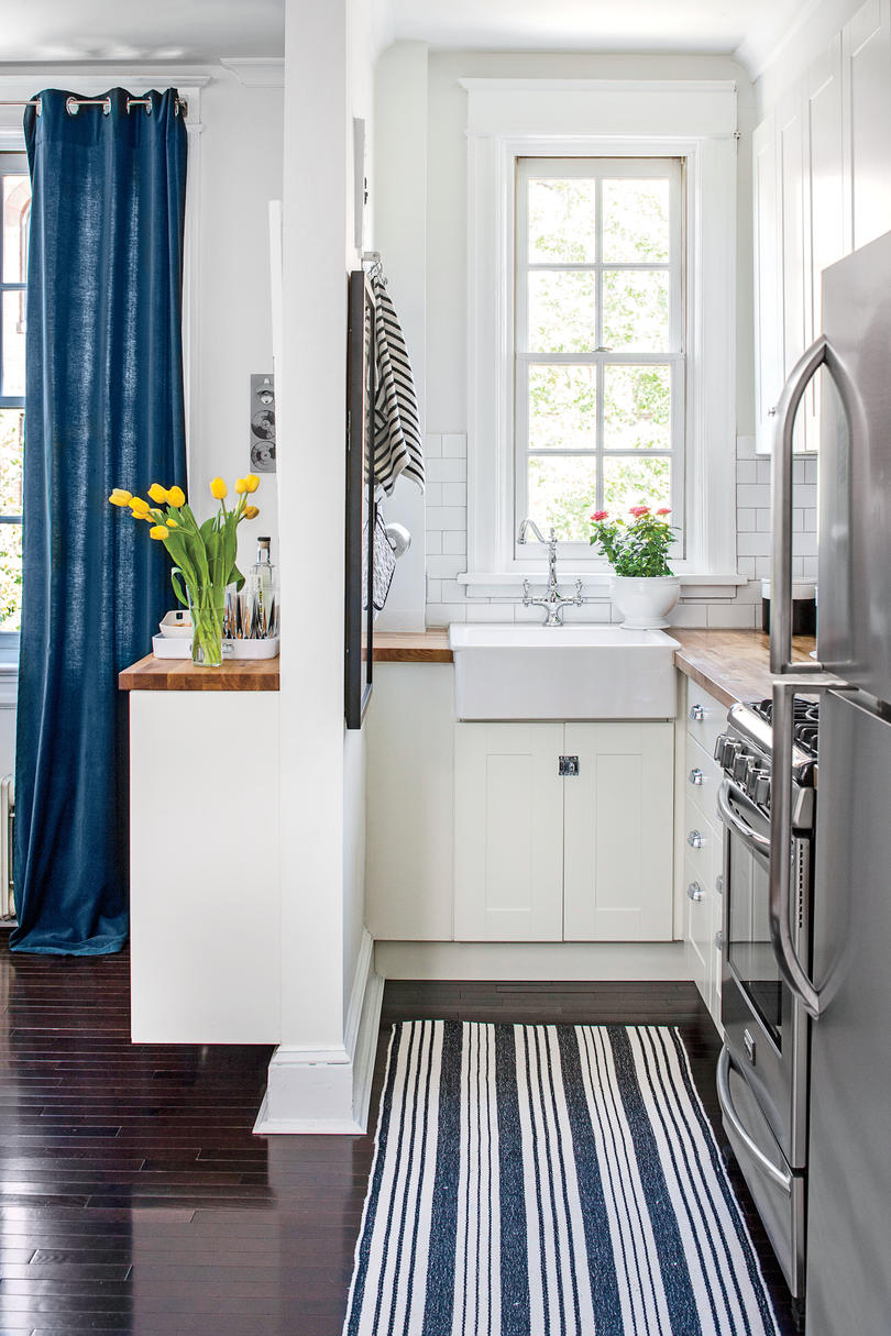 Tiny White and Blue Kitchen