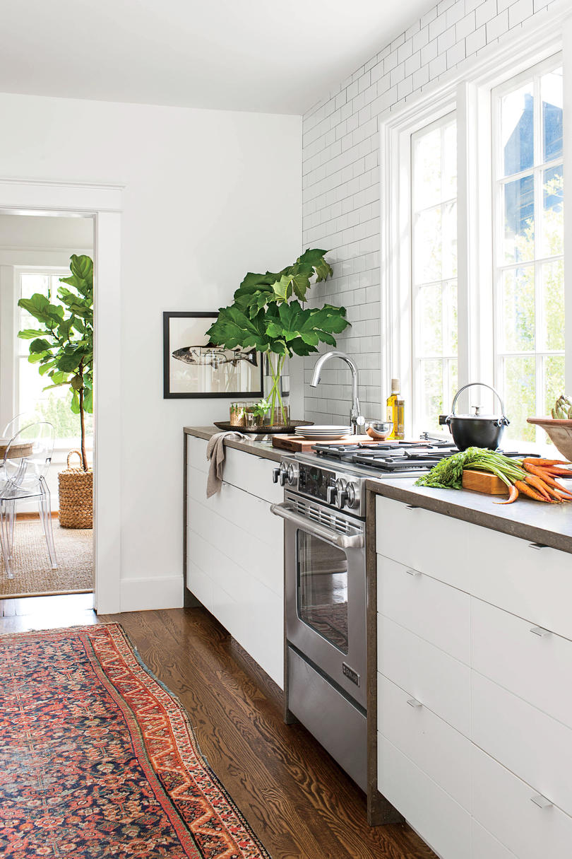 Bright White Tiny Galley Kitchen