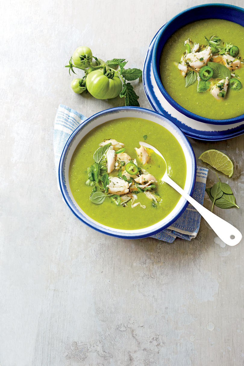 Green Tomato Soup with Lump Crabmeat
