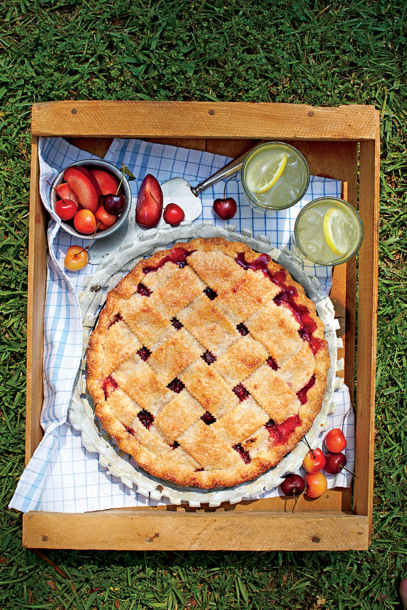Cherry-Plum Pie with Cornmeal Crust