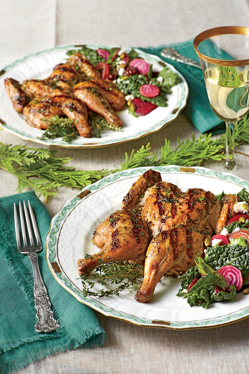 10 dinners to make someone fall in love with you southern living grilled cornish hens with herb brine forumfinder Images